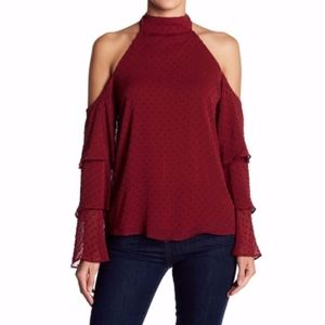 NEW Socialite Cold Shoulder Ruffle Sleeve Blouse